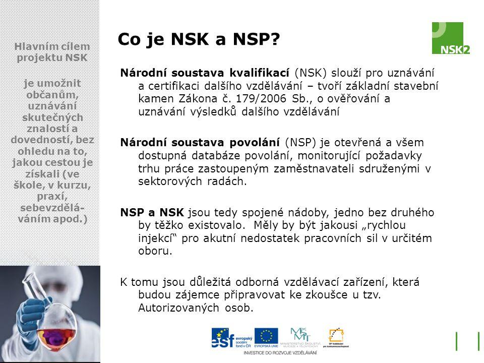 Co je NSK a NSP? Hlavním cílem projektu NSK je umožnit občanům, uznávání skutečných znalostí a dovedností, bez ohledu na to, jakou cestou je získali (