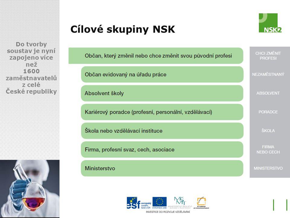 Cílové skupiny NSK Do tvorby soustav je nyní zapojeno více než 1600 zaměstnavatelů z celé České republiky