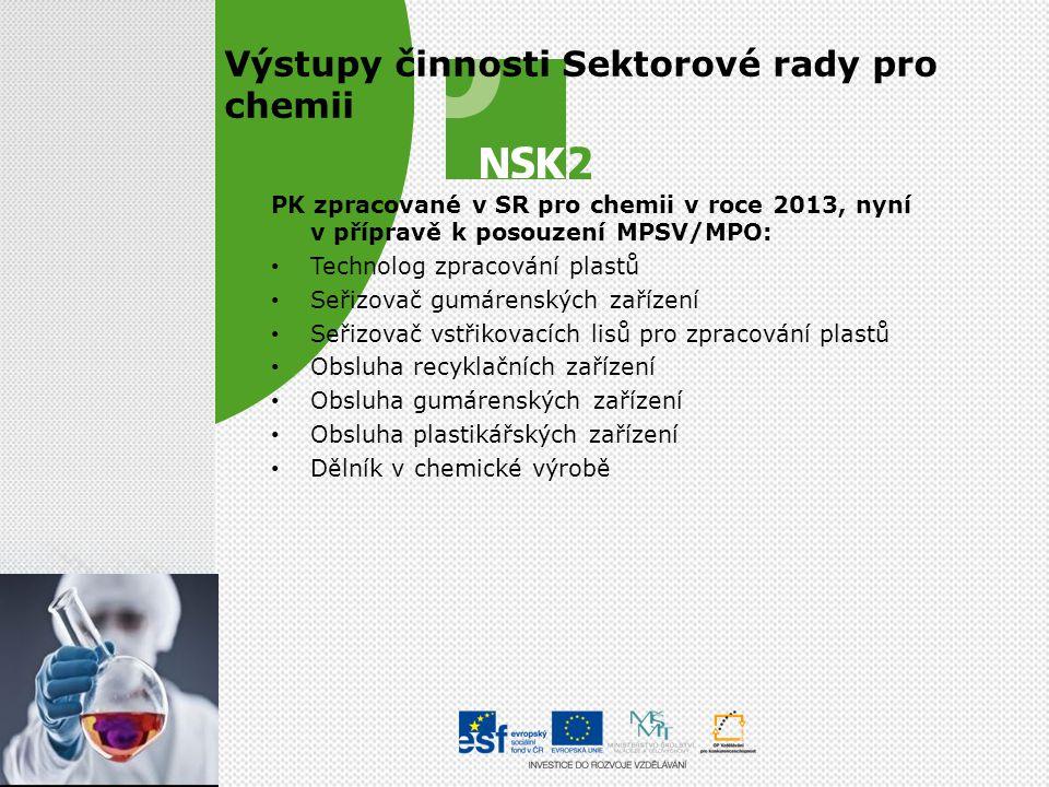 Výstupy činnosti Sektorové rady pro chemii PK zpracované v SR pro chemii v roce 2013, nyní v přípravě k posouzení MPSV/MPO: • Technolog zpracování pla