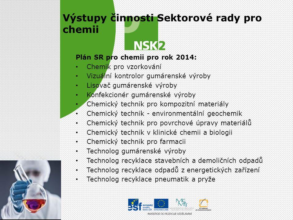 Výstupy činnosti Sektorové rady pro chemii Plán SR pro chemii pro rok 2014: • Chemik pro vzorkování • Vizuální kontrolor gumárenské výroby • Lisovač g