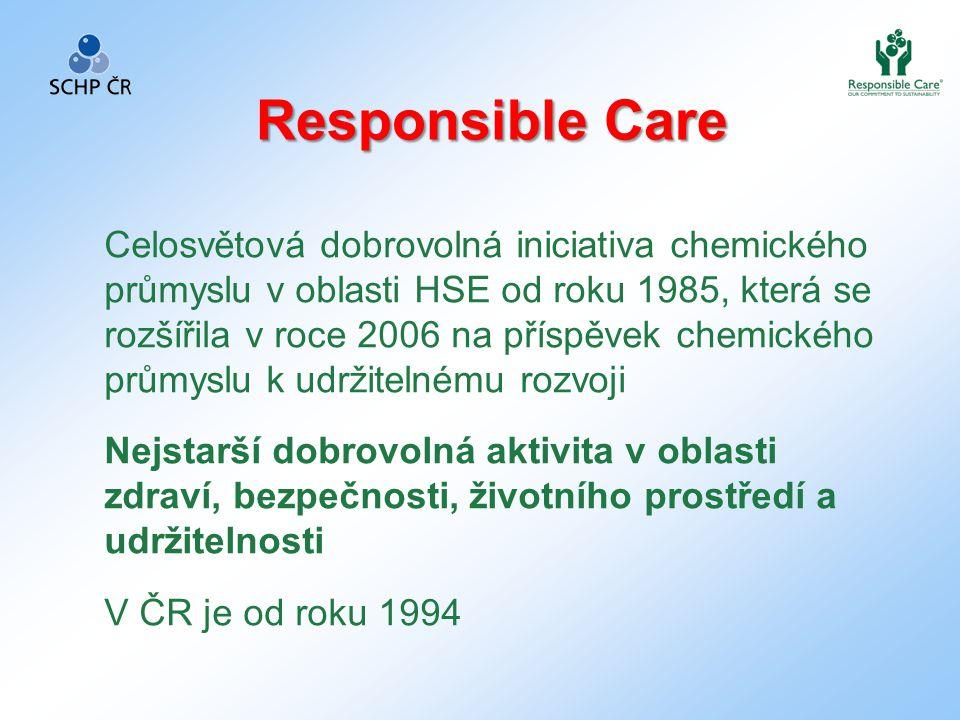 Celosvětová dobrovolná iniciativa chemického průmyslu v oblasti HSE od roku 1985, která se rozšířila v roce 2006 na příspěvek chemického průmyslu k udržitelnému rozvoji Nejstarší dobrovolná aktivita v oblasti zdraví, bezpečnosti, životního prostředí a udržitelnosti V ČR je od roku 1994