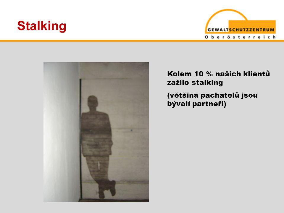 Stalking Kolem 10 % našich klientů zažilo stalking (většina pachatelů jsou bývalí partneři)
