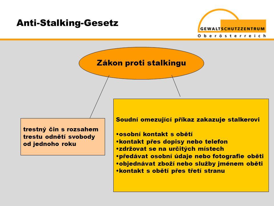 Anti-Stalking-Gesetz Zákon proti stalkingu trestný čin s rozsahem trestu odnětí svobody od jednoho roku Soudní omezující příkaz zakazuje stalkerovi •o