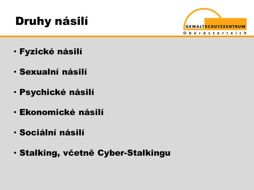 Druhy násilí • Fyzické násilí • Sexualní násilí • Psychické násilí • Ekonomické násilí • Sociální násilí • Stalking, včetně Cyber-Stalkingu