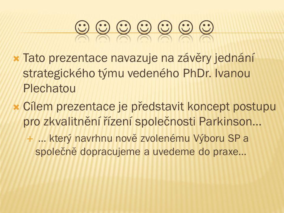  Tato prezentace navazuje na závěry jednání strategického týmu vedeného PhDr. Ivanou Plechatou  Cílem prezentace je představit koncept postupu pro z