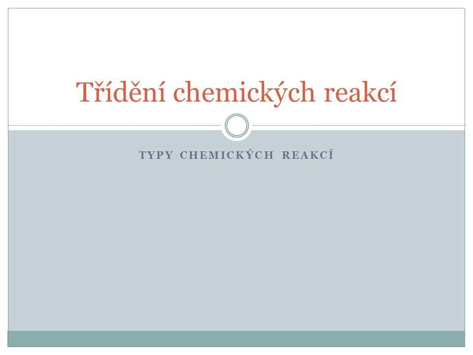 TYPY CHEMICKÝCH REAKCÍ Třídění chemických reakcí
