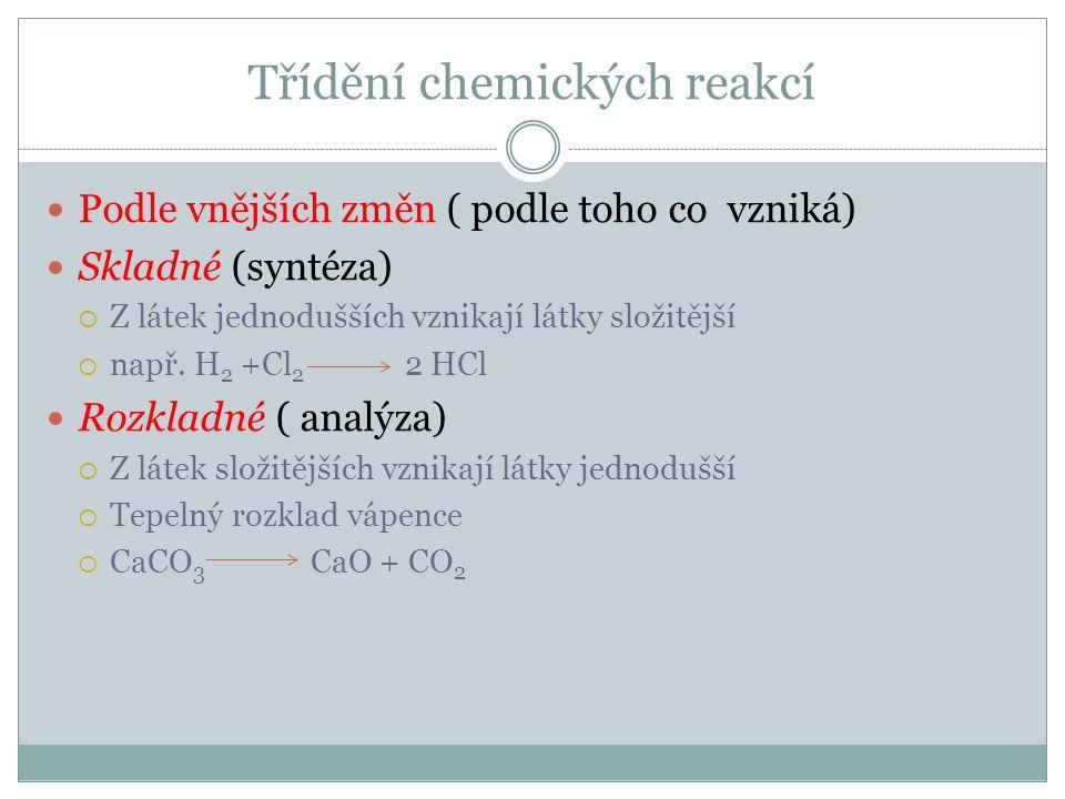 Třídění chem.reakcí  Chemické nahrazování (substituce, vytěsňování)  Volný prvek nahradí prvek ve sloučenině  Např.