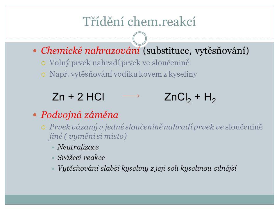 Připomeňme si  Neutralizace  Zapiš chemickou rovnicí :  Hydroxid draselný reaguje s kyselinou chlorovodíkovou  Kyselina sírová reaguje s hydroxidem sodným  Srážecí reakce  Zapiš rovnici reakce dusičnanu stříbrného s chloridem draselným NaOH + HCl NaCl + H 2 O AgNO 3 (aq) + NaCl(aq) AgCl(s) + NaNO 3 (aq) A