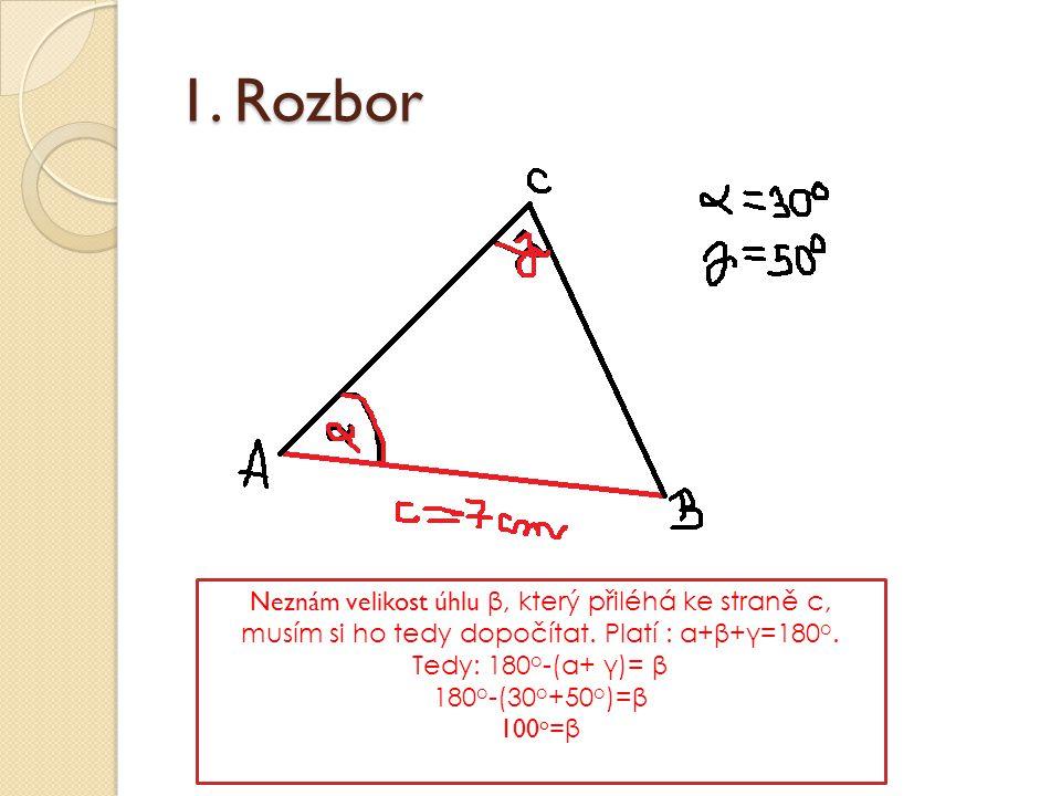 1. Rozbor Neznám velikost úhlu β, který přiléhá ke straně c, musím si ho tedy dopočítat. Platí : α+β+γ=180 o. Tedy: 180 o -(α+ γ)= β 180 o -(30 o +50