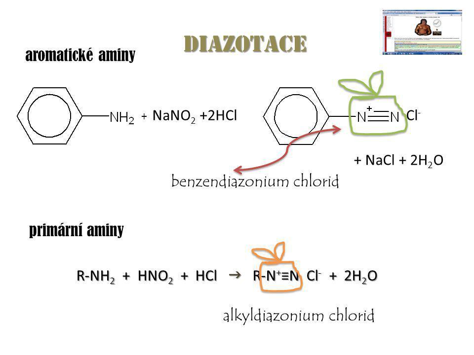 NaNO 2 +2HClCl - + NaCl + 2H 2 O + diazotace benzendiazonium chlorid aromatické aminy primární aminy R-NH 2 + HNO 2 + HCl  R-N + ≡N Cl - + 2H 2 O R-N