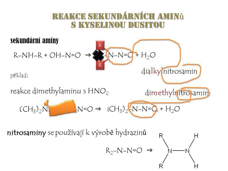 Reakce sekundárních amin ů s kyselinou dusitou  R-NH-R + OH-N=O  R 2 -N-N=O + H 2 O dialkylnitrosamin  (CH 3 ) 2 NH + OH-N=O  p ř íklad : reakce d