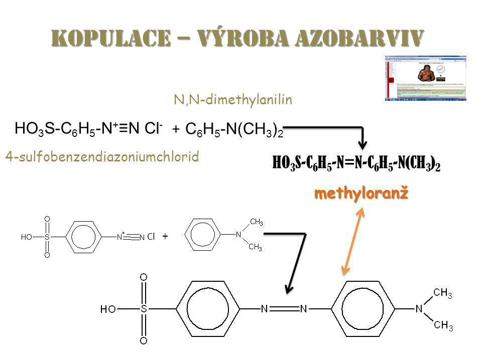 HO 3 S-C 6 H 5 -N + ≡N Cl - + C 6 H 5 -N(CH 3 ) 2 HO 3 S-C 6 H 5 -N=N-C 6 H 5 -N(CH 3 ) 2 4-sulfobenzendiazoniumchlorid N,N-dimethylanilin methyloranž