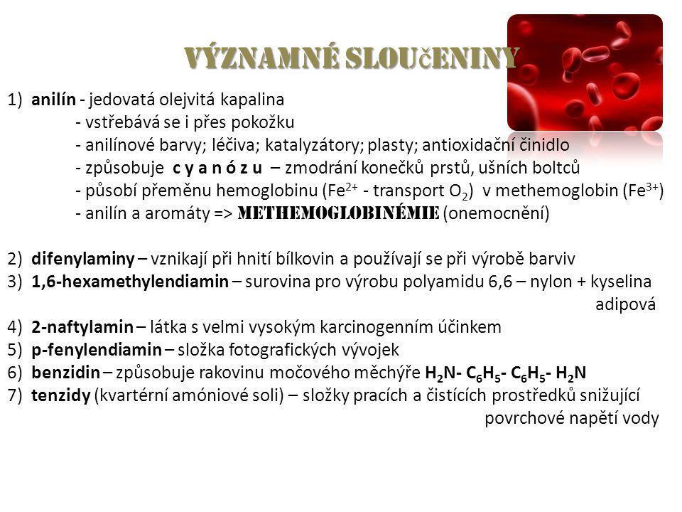 Významné slou č eniny 1) anilín - jedovatá olejvitá kapalina - vstřebává se i přes pokožku - anilínové barvy; léčiva; katalyzátory; plasty; antioxidač