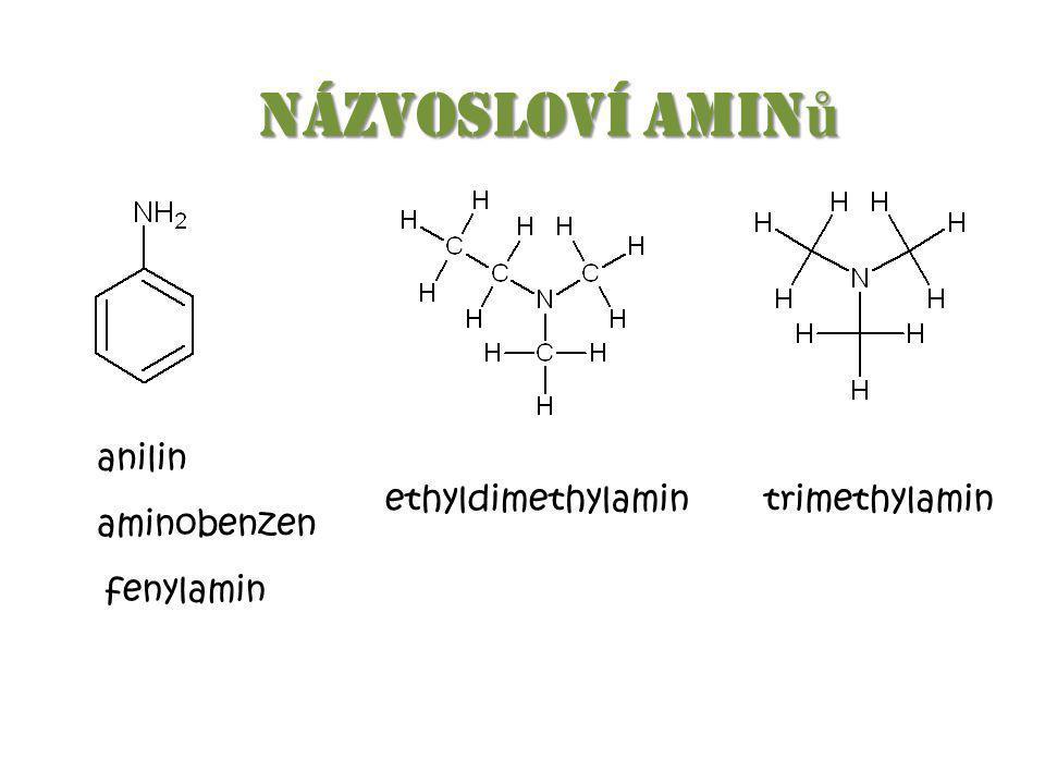 Názvosloví amin ů Názvosloví amin ů anilin aminobenzen fenylamin ethyldimethylamintrimethylamin