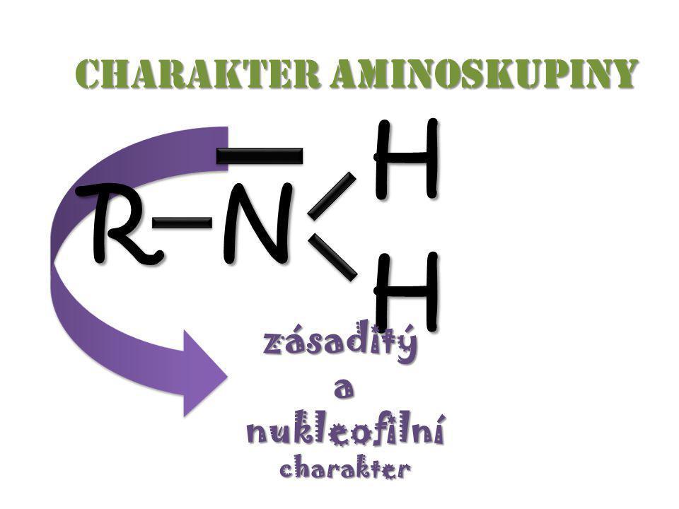 Charakter aminoskupiny Charakter aminoskupiny RN H H zásaditýanukleofilnícharakter