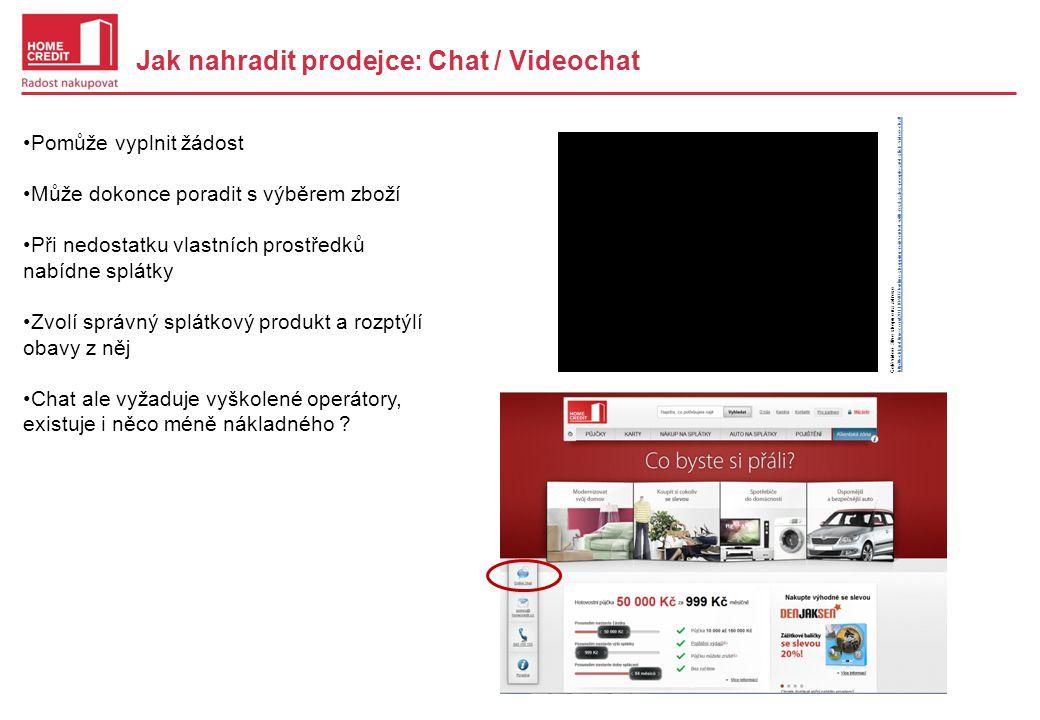 Jak nahradit prodejce: Chat / Videochat •Pomůže vyplnit žádost •Může dokonce poradit s výběrem zboží •Při nedostatku vlastních prostředků nabídne splátky •Zvolí správný splátkový produkt a rozptýlí obavy z něj •Chat ale vyžaduje vyškolené operátory, existuje i něco méně nákladného .
