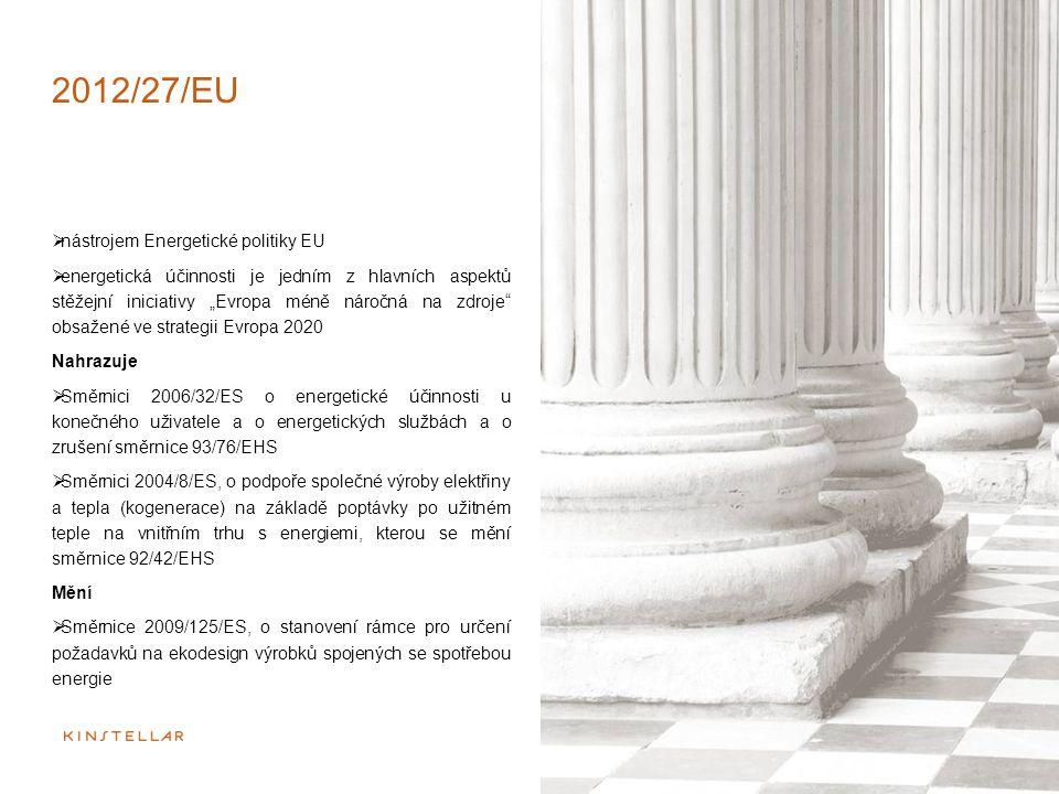 """2012/27/EU  nástrojem Energetické politiky EU  energetická účinnosti je jedním z hlavních aspektů stěžejní iniciativy """"Evropa méně náročná na zdroje"""