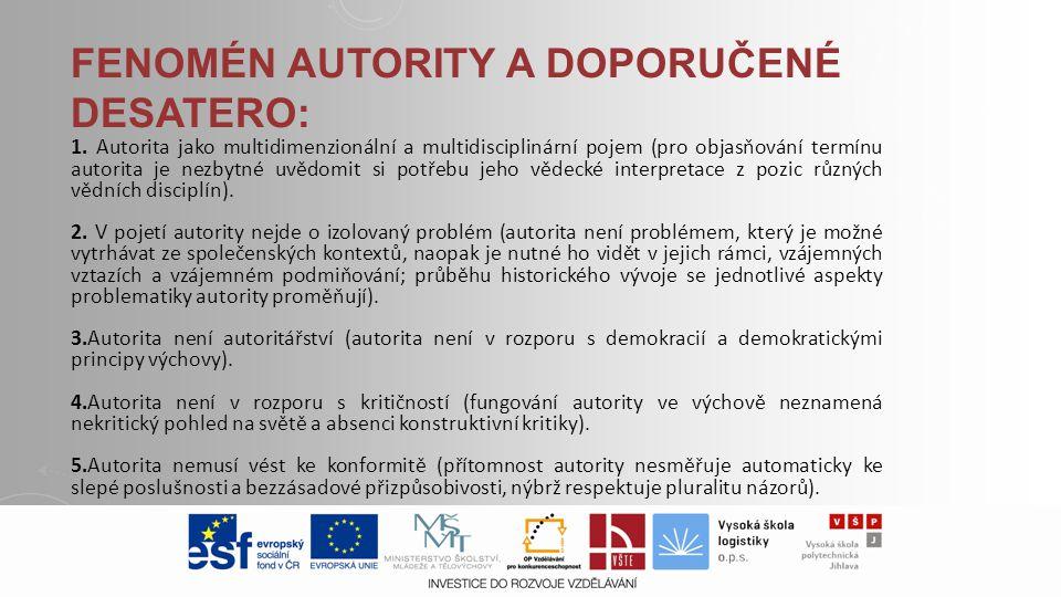 FENOMÉN AUTORITY A DOPORUČENÉ DESATERO: 1. Autorita jako multidimenzionální a multidisciplinární pojem (pro objasňování termínu autorita je nezbytné u