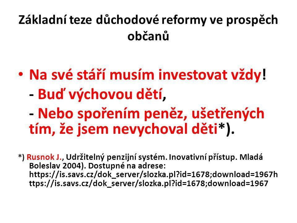 Základní teze důchodové reformy ve prospěch občanů Na své stáří musím investovat vždy.