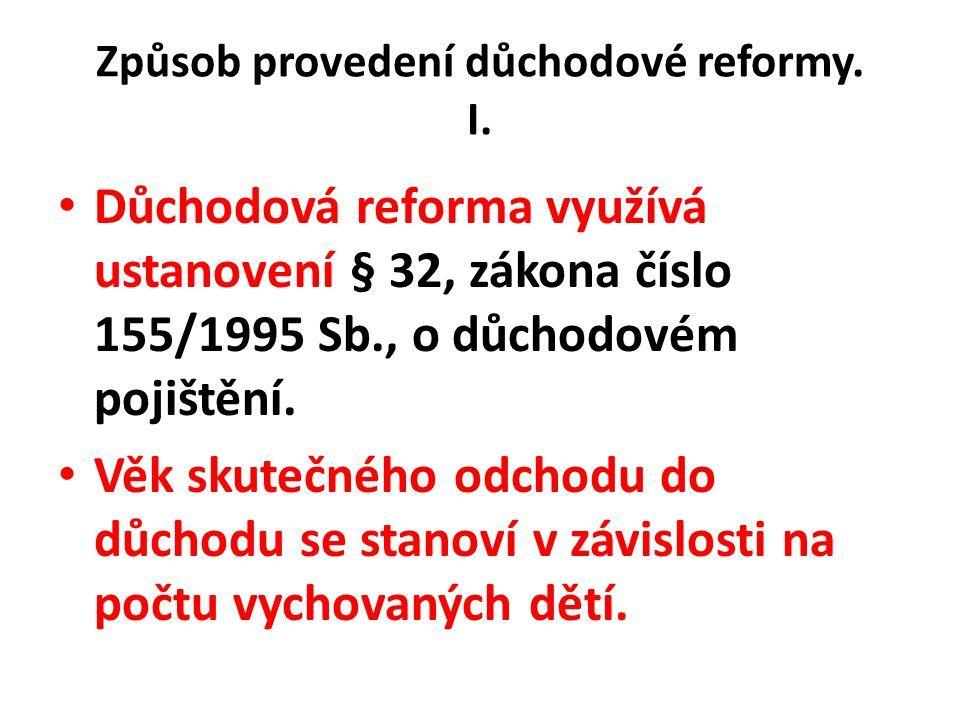 Způsob provedení důchodové reformy. I.