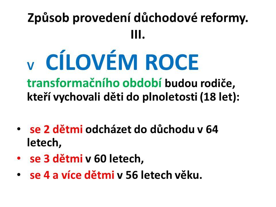 Způsob provedení důchodové reformy. III.