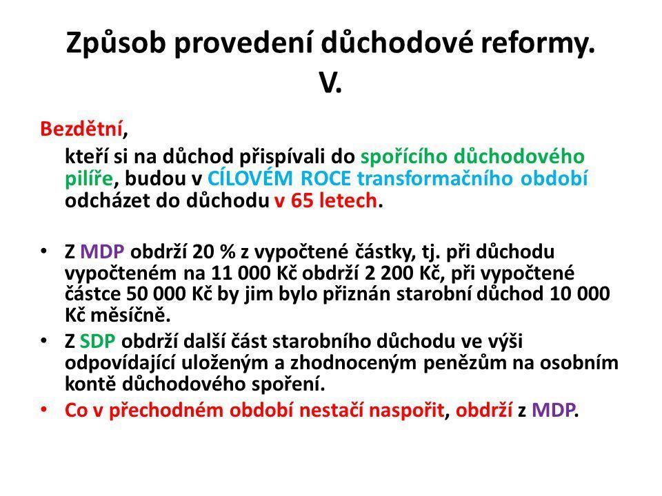 Způsob provedení důchodové reformy. V.