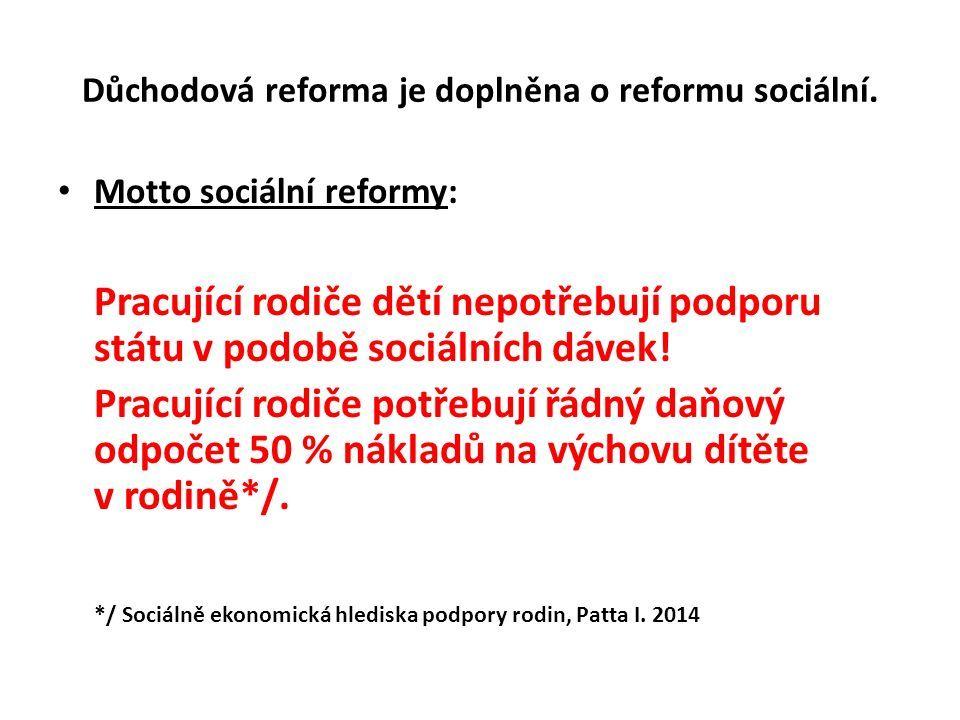 Důchodová reforma je doplněna o reformu sociální.