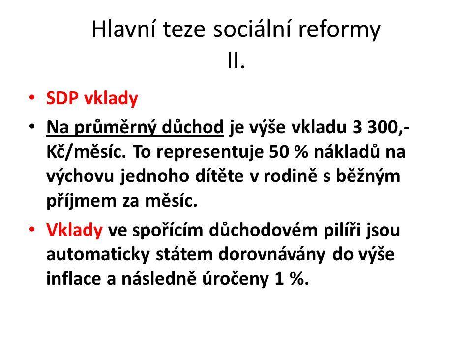 Hlavní teze sociální reformy II. SDP vklady Na průměrný důchod je výše vkladu 3 300,- Kč/měsíc.