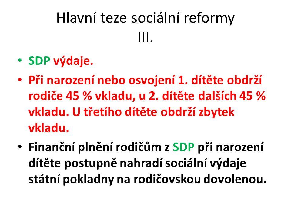 Hlavní teze sociální reformy III. SDP výdaje. Při narození nebo osvojení 1.