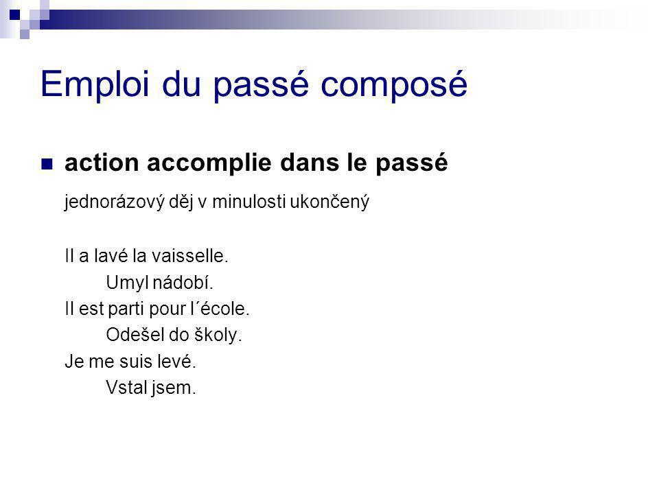 Emploi du passé composé action accomplie dans le passé jednorázový děj v minulosti ukončený Il a lavé la vaisselle.