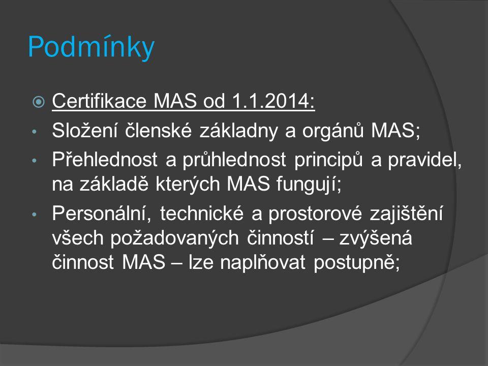 Podmínky  Certifikace MAS od 1.1.2014: Složení členské základny a orgánů MAS; Přehlednost a průhlednost principů a pravidel, na základě kterých MAS fungují; Personální, technické a prostorové zajištění všech požadovaných činností – zvýšená činnost MAS – lze naplňovat postupně;