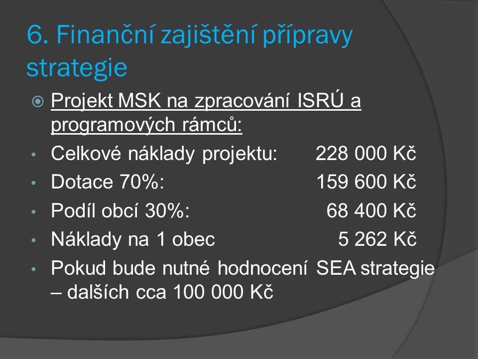 6. Finanční zajištění přípravy strategie  Projekt MSK na zpracování ISRÚ a programových rámců: Celkové náklady projektu:228 000 Kč Dotace 70%:159 600