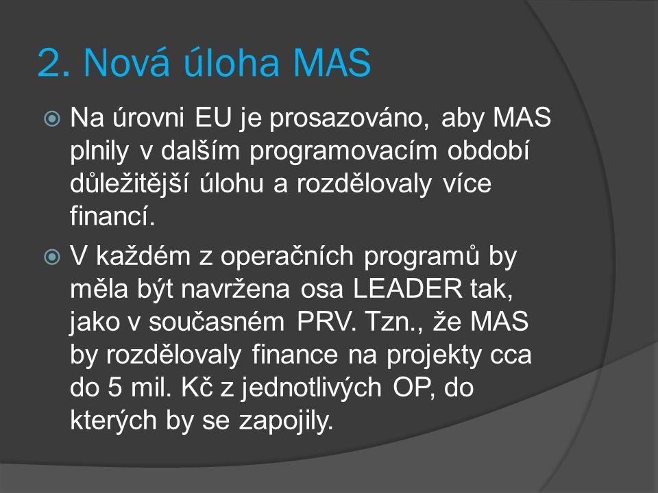 2. Nová úloha MAS  Na úrovni EU je prosazováno, aby MAS plnily v dalším programovacím období důležitější úlohu a rozdělovaly více financí.  V každém