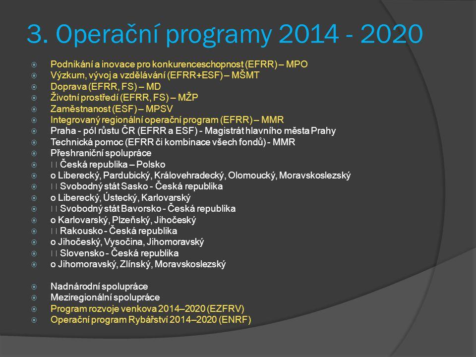 3. Operační programy 2014 - 2020  Podnikání a inovace pro konkurenceschopnost (EFRR) – MPO  Výzkum, vývoj a vzdělávání (EFRR+ESF) – MŠMT  Doprava (