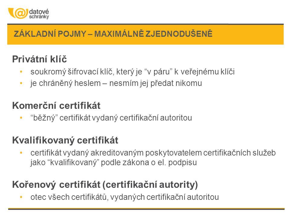 ZÁKLADNÍ POJMY – MAXIMÁLNĚ ZJEDNODUŠENĚ Privátní klíč soukromý šifrovací klíč, který je v páru k veřejnému klíči je chráněný heslem – nesmím jej předat nikomu Komerční certifikát běžný certifikát vydaný certifikační autoritou Kvalifikovaný certifikát certifikát vydaný akreditovaným poskytovatelem certifikačních služeb jako kvalifikovaný podle zákona o el.