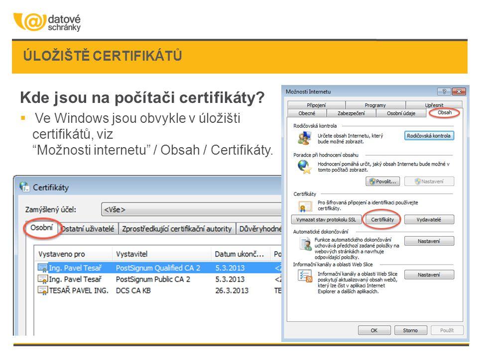 """ÚLOŽIŠTĚ CERTIFIKÁTŮ Kde jsou na počítači certifikáty?  Ve Windows jsou obvykle v úložišti certifikátů, viz """"Možnosti internetu"""" / Obsah / Certifikát"""