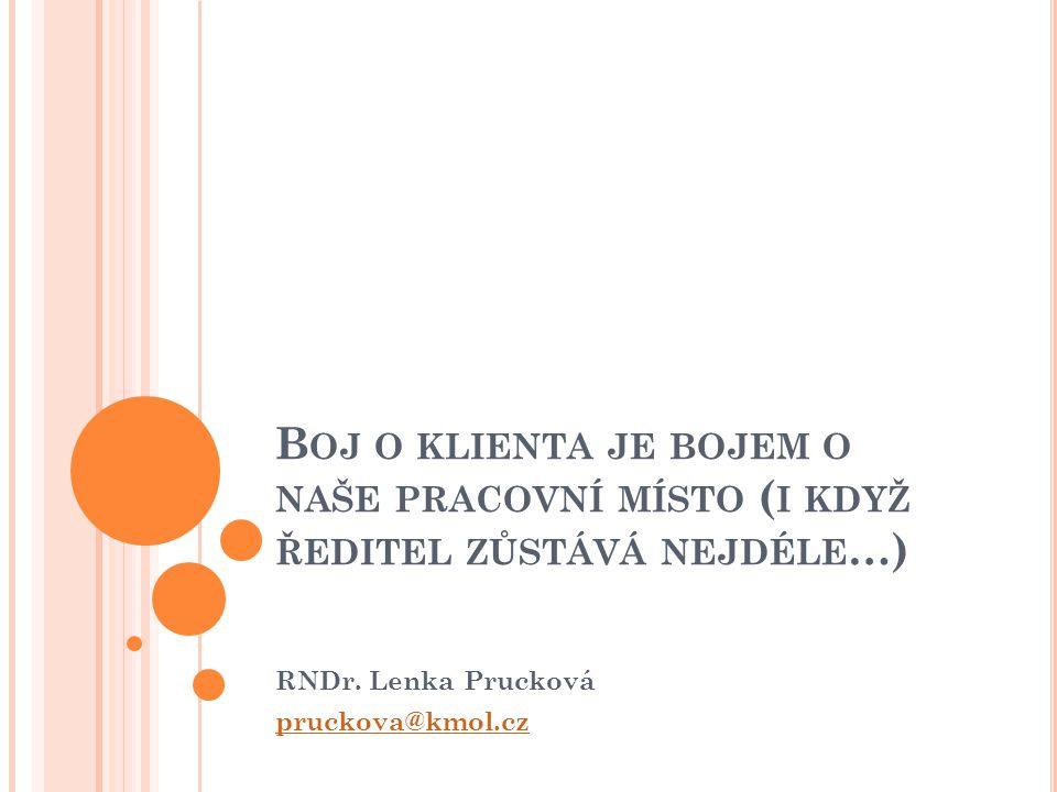 B OJ O KLIENTA JE BOJEM O NAŠE PRACOVNÍ MÍSTO ( I KDYŽ ŘEDITEL ZŮSTÁVÁ NEJDÉLE …) RNDr. Lenka Prucková pruckova@kmol.cz