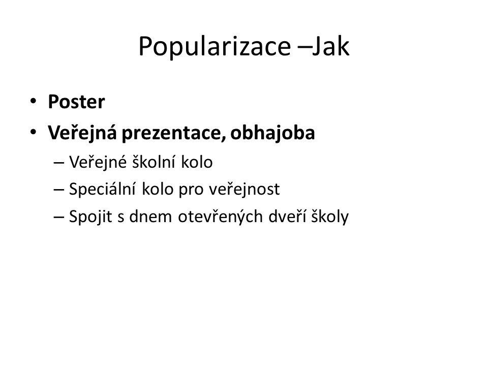 Popularizace –Jak Poster Veřejná prezentace, obhajoba – Veřejné školní kolo – Speciální kolo pro veřejnost – Spojit s dnem otevřených dveří školy