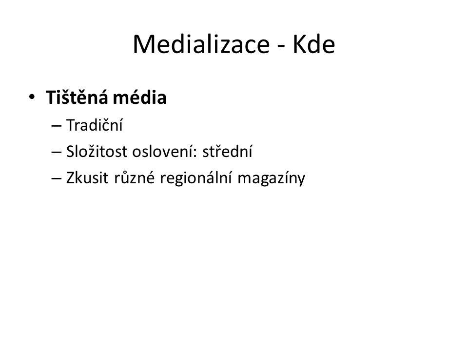 Tištěná média – Tradiční – Složitost oslovení: střední – Zkusit různé regionální magazíny