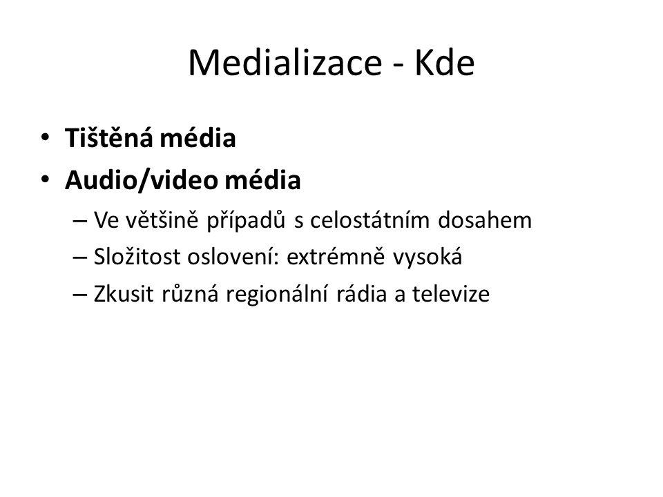 Medializace - Kde Tištěná média Audio/video média – Ve většině případů s celostátním dosahem – Složitost oslovení: extrémně vysoká – Zkusit různá regionální rádia a televize