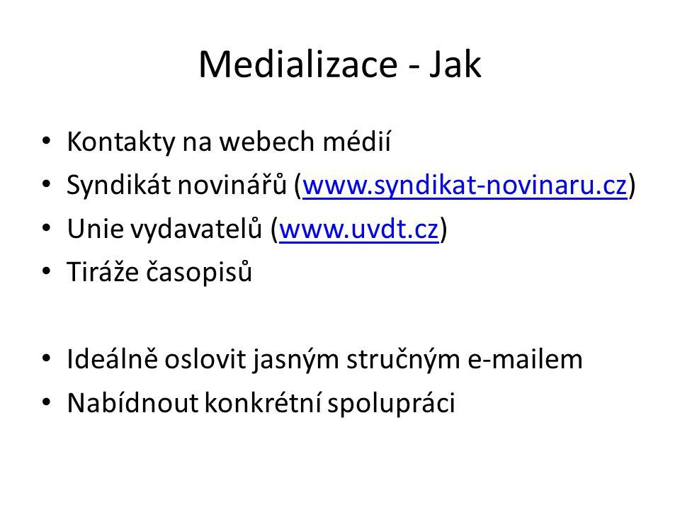 Medializace - Jak Kontakty na webech médií Syndikát novinářů (www.syndikat-novinaru.cz)www.syndikat-novinaru.cz Unie vydavatelů (www.uvdt.cz)www.uvdt.cz Tiráže časopisů Ideálně oslovit jasným stručným e-mailem Nabídnout konkrétní spolupráci