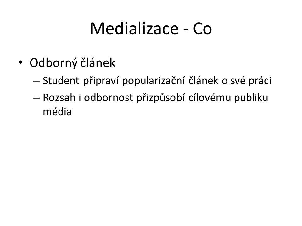 Medializace - Co Odborný článek – Student připraví popularizační článek o své práci – Rozsah i odbornost přizpůsobí cílovému publiku média
