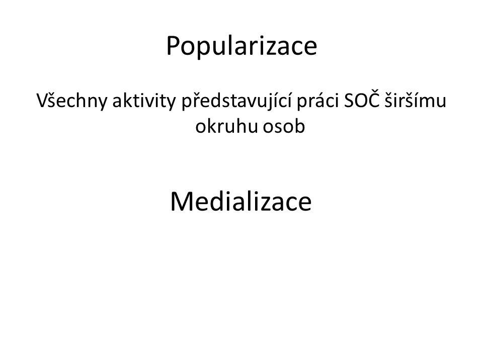 Popularizace Všechny aktivity představující práci SOČ širšímu okruhu osob Medializace Veškeré zmínky o pracích SOČ v médiích