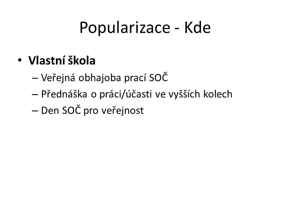 Vlastní škola – Veřejná obhajoba prací SOČ – Přednáška o práci/účasti ve vyšších kolech – Den SOČ pro veřejnost