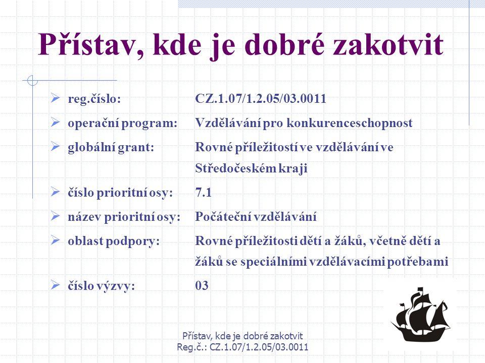 Přístav, kde je dobré zakotvit Reg.č.: CZ.1.07/1.2.05/03.0011 Přístav, kde je dobré zakotvit  reg.číslo: CZ.1.07/1.2.05/03.0011  operační program: V