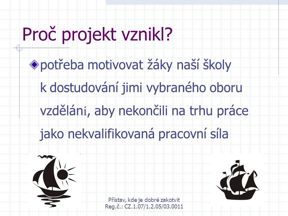 Přístav, kde je dobré zakotvit Reg.č.: CZ.1.07/1.2.05/03.0011 Proč projekt vznikl? potřeba motivovat žáky naší školy k dostudování jimi vybraného obor