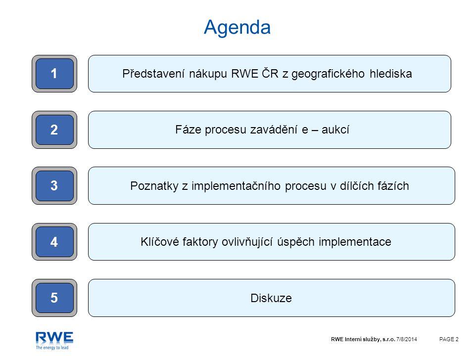 RWE Interní služby, s.r.o. 7/8/2014PAGE 2 Agenda 2 Představení nákupu RWE ČR z geografického hlediska Fáze procesu zavádění e – aukcí 1 3 5 Poznatky z