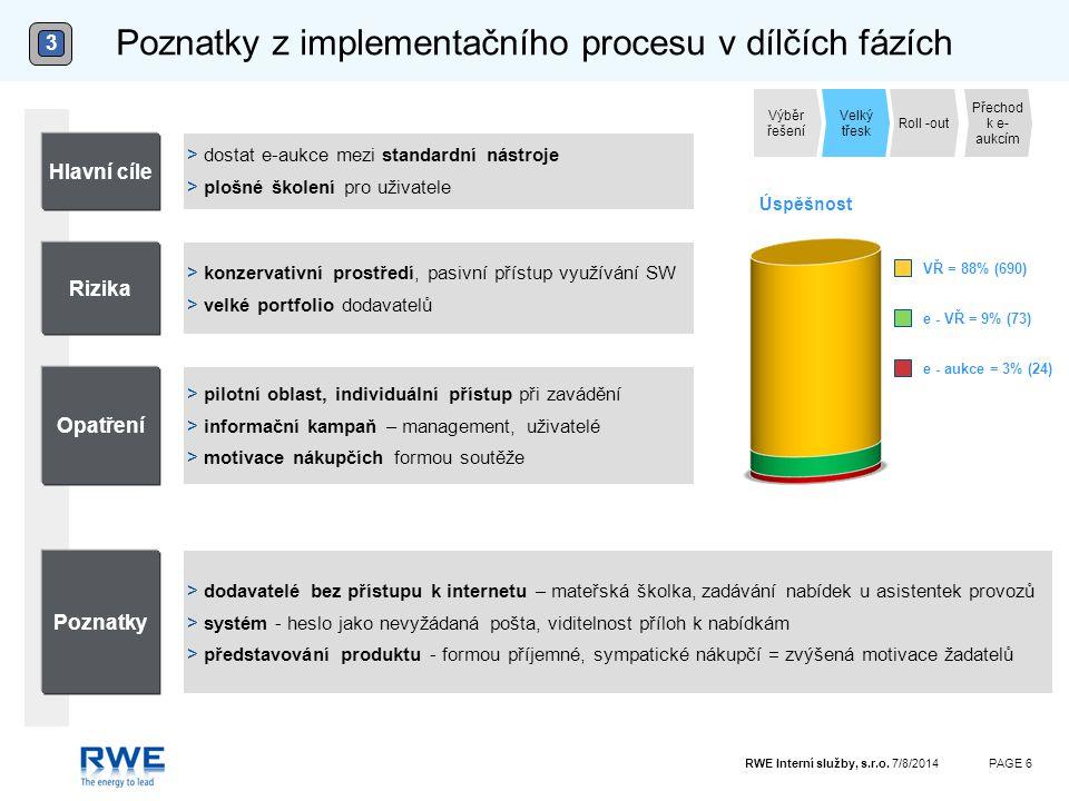 RWE Interní služby, s.r.o. 7/8/2014PAGE 6 Poznatky z implementačního procesu v dílčích fázích 3 Poznatky > pilotní oblast, individuální přístup při za