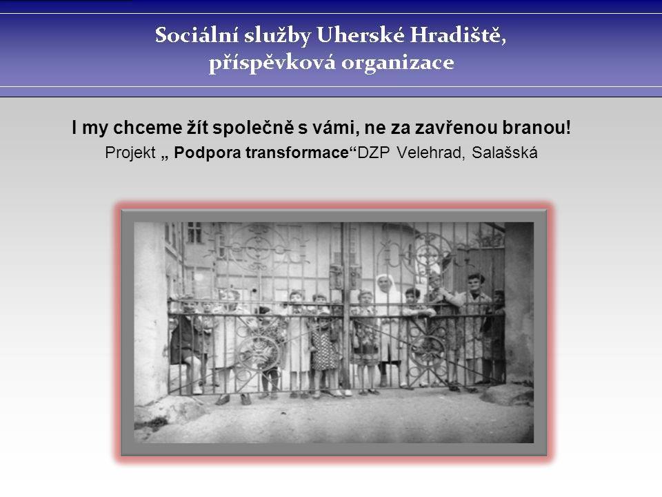 """I my chceme žít společně s vámi, ne za zavřenou branou! Projekt """" Podpora transformace""""DZP Velehrad, Salašská"""