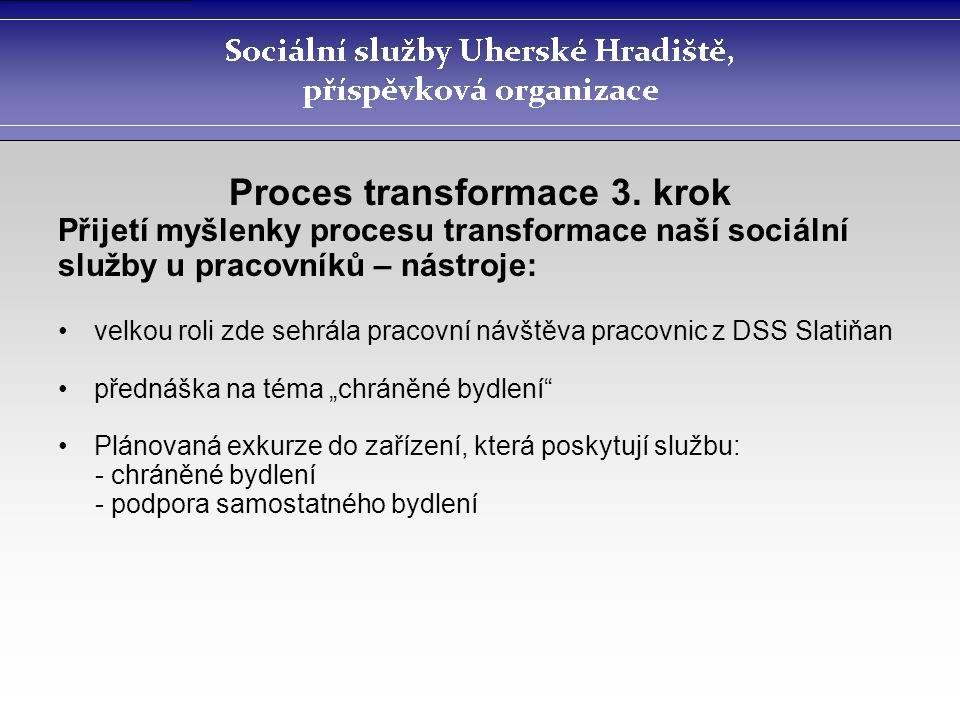 Proces transformace 3. krok Přijetí myšlenky procesu transformace naší sociální služby u pracovníků – nástroje: velkou roli zde sehrála pracovní návšt